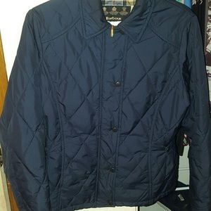Jackets & Blazers - Barbour navy blue snap-side puffer jacket